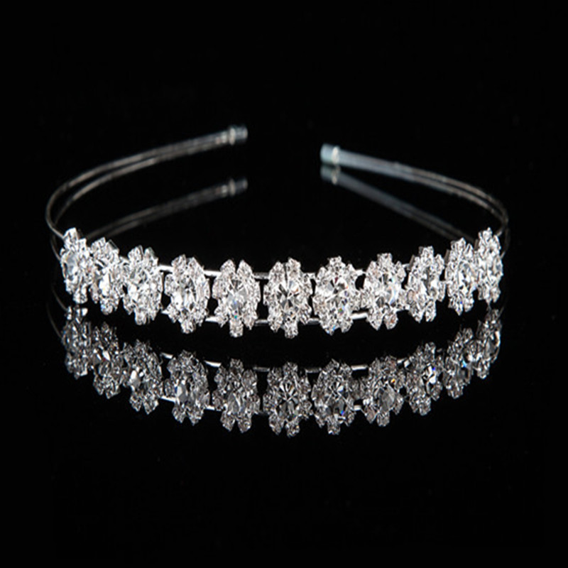 Ladies Blue Rhinestone Flower Crystal Hair Hoop Prom Headband Hairband Crown