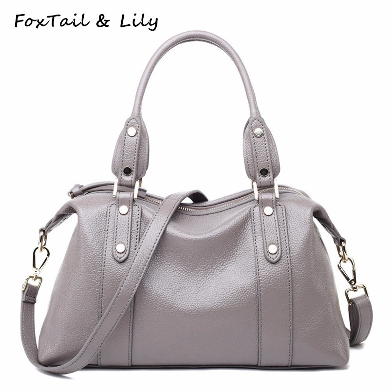 FoxTail & Lily Rivets Design Women Genuine Leather Tote Shoulder Bags European Handbags Brands Luxury Ladies Messenger Bags foxtail