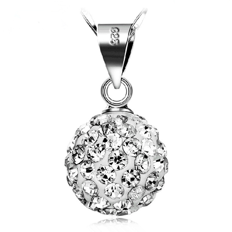 Wholesale 925 sterling silver fashion Shambhala ball shiny crystal ladies pendant necklace jewelry female short chain gift cheap