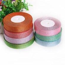 Rubans Organza multicolores à paillettes métalliques, 25 Yards, 20mm de largeur, pour bricolage, fête de mariage, embellissement de noël, accessoires