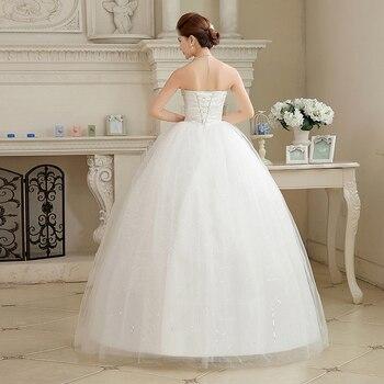 2017 New Arrival Real Photo Plus size Lace Sequins Wedding Dresses Cheap White Strapless Bride Gowns Vestidos De Novia HS107 1