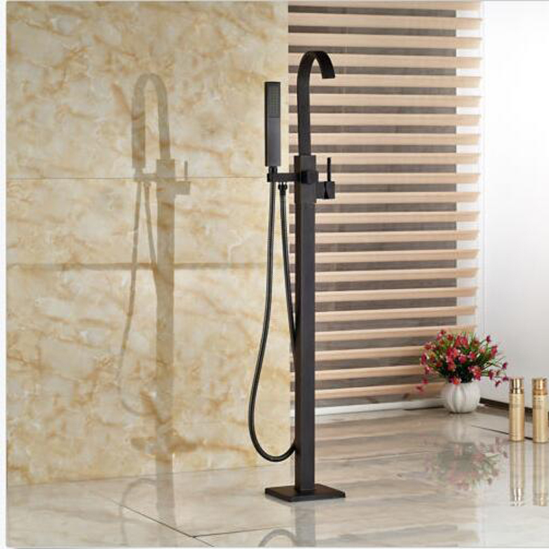 POIQIHY Floor Standing Bathroom Tub Faucet Oil Rubbed Bronze Tub ...