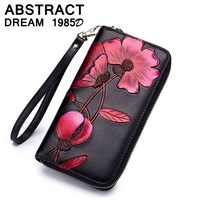 designer RFID real Leather wallet Hand painted women's wallet 2019 women luxury classic wallet fashion bags Floral Ladies purse