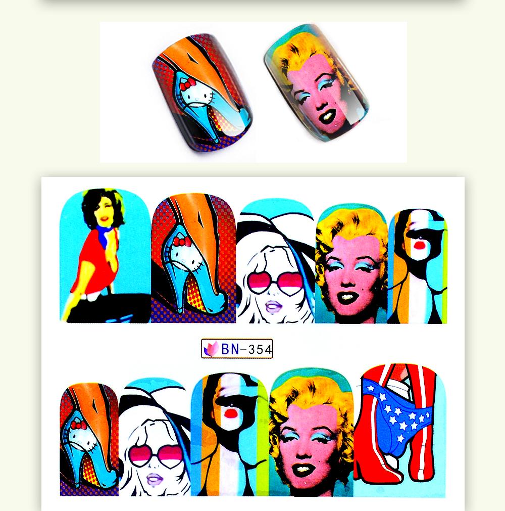 1 Sheet 17 New Nail Fashion Sticker Full Cover Lips Cute Printing Water Transfer Tips Nail Art Decorations 5
