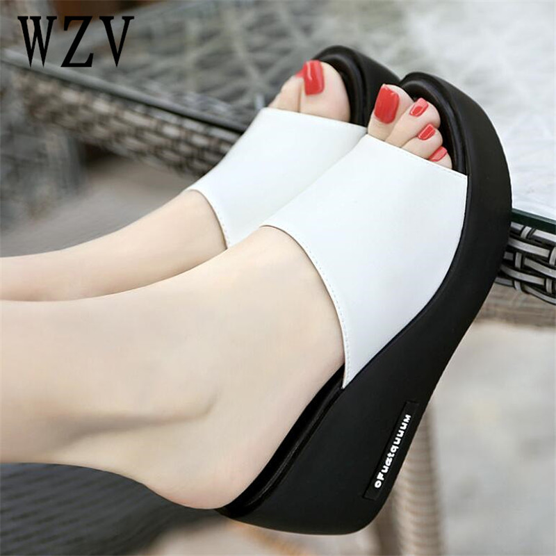 Women Sandals 2018 Summer Leather Peep Toe women Shoes Woman Flip Flops Wedges Fashion Platform Female Slides Ladies Shoes B388 wastyx new 2017 summer fashion cowboy women sandals casual women flip flops shoes wedges shoes woman