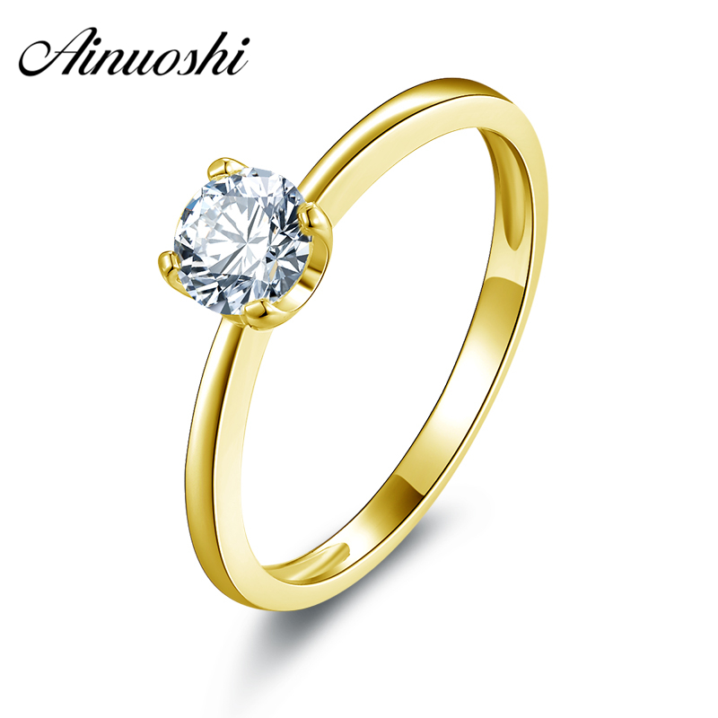 AINUOSHI 10k Solid Yellow Gold Wedding Ring New Classic Round Cut Solitaire Simulated Diamond Wedding Rings for Women EngagementAINUOSHI 10k Solid Yellow Gold Wedding Ring New Classic Round Cut Solitaire Simulated Diamond Wedding Rings for Women Engagement