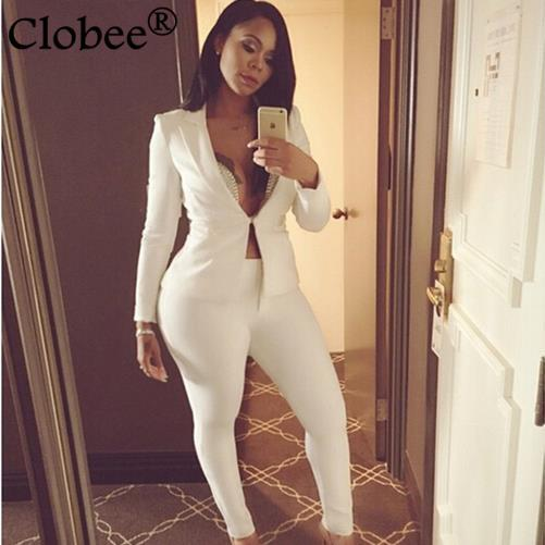 2017 Spring new Official women suit white two piece set Long Sleeve tops Slim Straight Pants Work wear Elegant Female suit WR487 plus size short overalls