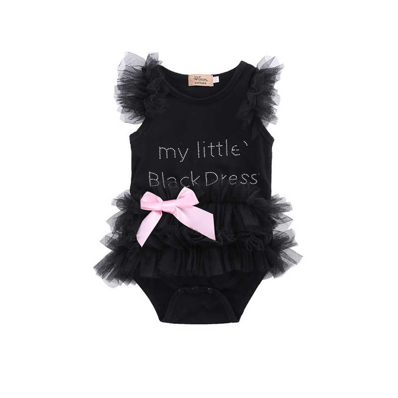 Toddler Baby Girls Pretty Sweet Summer Romper Lace Sleeve O-Neck Covered Button Letter Bow Lace Tutu Romper Dress Outfit 0-18M