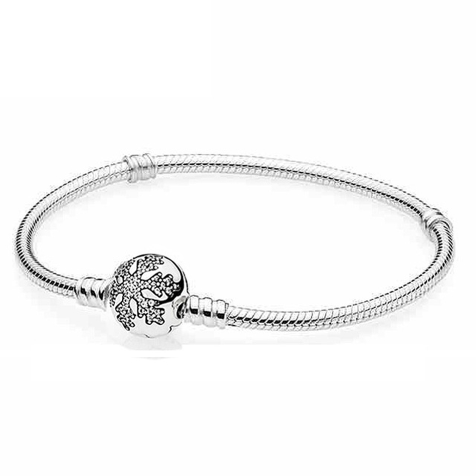 Top Quality 925 Sterling Silver Pave Snowflake Ball Clasp Crystal Wome Bracelet Bangle fit Pandora Bead Charm Bracelet Jewelry