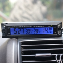 Multifunctional 3 in 1 Car Digital Thermometer ClockVoltmeter Temperature Voltage Detector for Vehicle EC30 Free Shipping