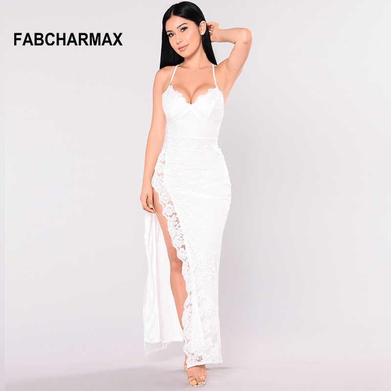 143976bdca side slit white lace long dress club v neck spaghetti strap bustier sexy  bodycon women dresses evening party slip maxi dresses