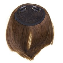 NEW Synthetic Hair Fringe Bangs Wig with 2 Clips – Light Brown