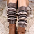 140g Women's Thick Winter cashmere Knitted Leg Warmers Legging Boot Cover Fashion stipe Knit Crochet Gaiters Boot Cuffs