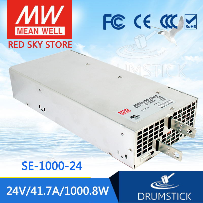 (Only 11.11)MEAN WELL SE-1000-24 (1Pcs) 24V 41.7A meanwell SE-1000 24V 1000.8W Single Output Power Supply only 11 11 selling hot mean well se 100 24 2pcs 24v 4 5a meanwell se 100 24v 108w single output switching power supply