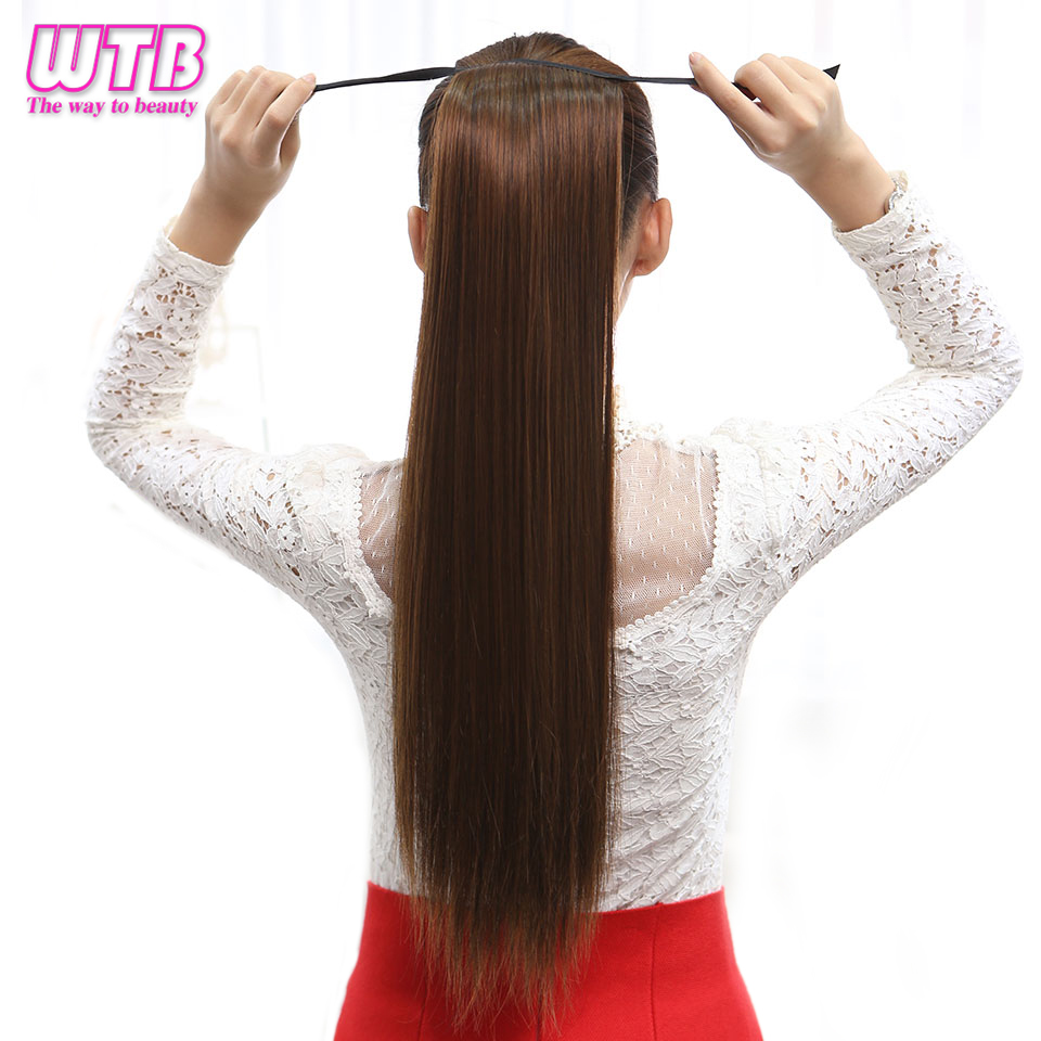 sale wtb synthetic ponytail long straight drawstring clip in heat