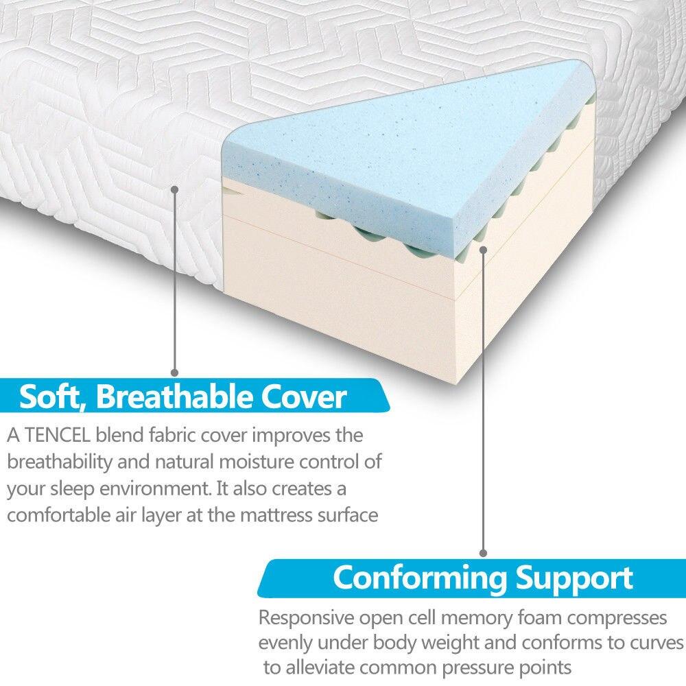 14 Inch Queen Size Cool Medium Firm Memory Foam Mattress 2 Free