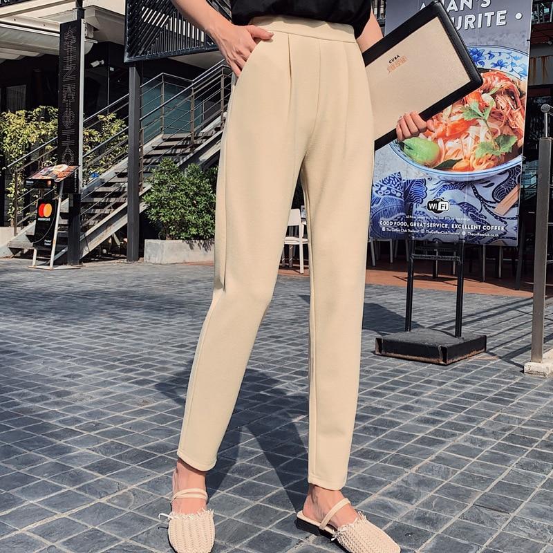Aselnn Pants Women 2019 Spring Autumn Casual Linen Ankle-length Pants Regular Harem Pants Plus Size Streetwear Trousers Female 3