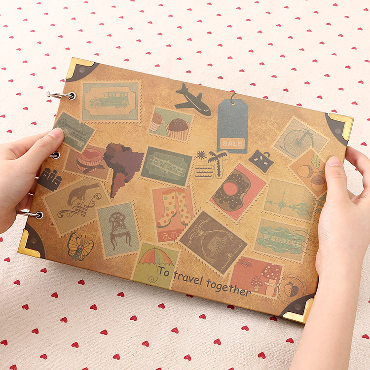 Large 28*20cm DIY photo album blank inner pages 30sheets creative cute planners handmade memory bound diary notebook фотоальбом diy photo album diy handmade 10 foto 120 2015 bbxc0092