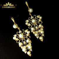 Wedding Jewelry Imitated Pearls Olive Leaf Drop Earrings Gold Tone Opens Crystal Chandelier Style Filigree Grape