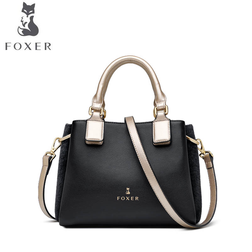 FOXER 2018 New women Leather bag luxury handbags women famous brand leather material fashion tote women leather shoulder Bag foxer 2018 new women leather bag retro fashion luxury handbag women famous brand leather material women leather crossbody bag