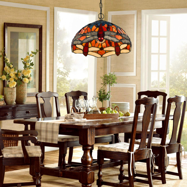 Fumat American Country Style Tiffany Lamp Creative Art Garden Red Dragonfly Gl Living Room Hotel