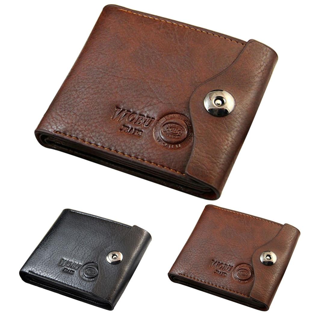 2018 Vintage Men Short Wallets Short Purse Small Business Leather Wallet Card Holder Coin Pocket Zipper Men Purse Men Wallets