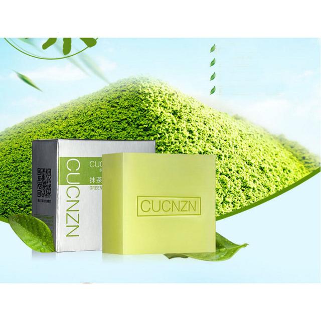Organic Handmade Soap Matcha Green Tea Powder Soap Whitening Moisturizing Cleansing Remove Blackhead Facial Cleanser Soap Z3