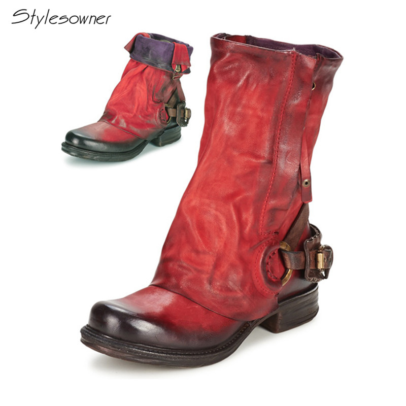 Stylesowner Pleated Antique Retro Cow Leather Mid-Calf Boots Mixed Colors Personal Neutral Women Knight Boots Large Size 34-42 double buckle cross straps mid calf boots