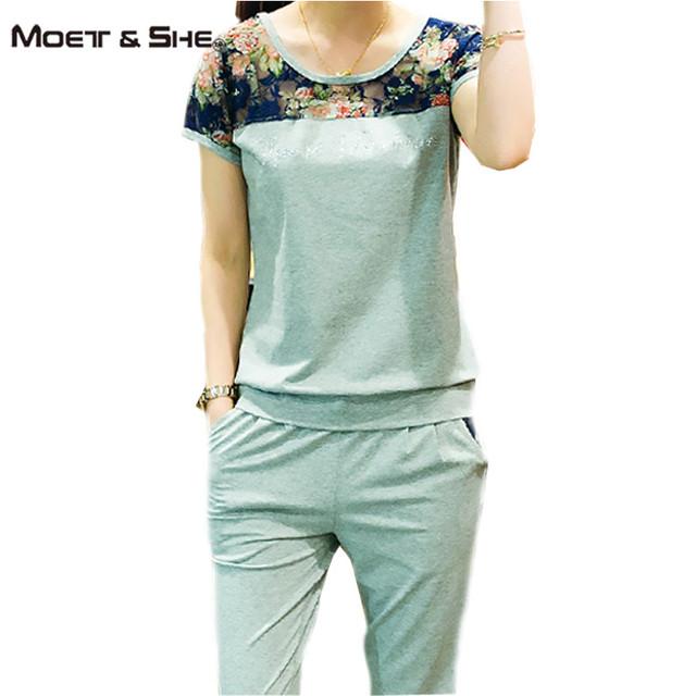 Verão Rendas Patchwork Moda Feminina Define 2 Peças Lady Vestuário conjunto Grande Tamanho M-4XL Mulheres Suits Casual Tops + Pant S67258R