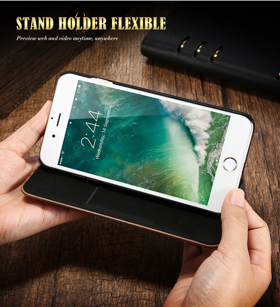 DOEES Real Wood Leather Case For iPhone 6 6S 7 7 Plus Cover Stand Holder Card Slot Vintage Cover For iPhone 6 7 Flip Wallet Case (8)