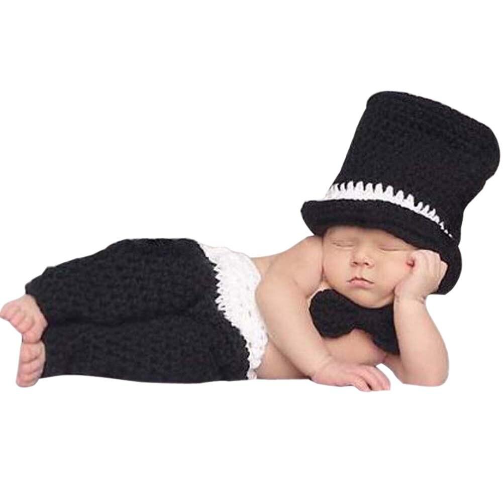 Baru Bayi Fotografi Alat Peraga Gadis Boy Photo Crochet Umpan Pancing Soft Tiddler Luminous Gid Pakaian Rajutan Topi Gentlemen Celana Musim Dingin