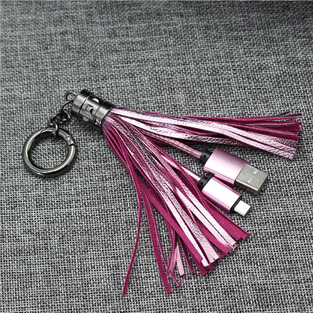 USB Cable Leather tassel Keychain mini USB Cable fast charger Metal keyring Data cable cord charging adapter for Android for IPh in Data Cables from Consumer Electronics