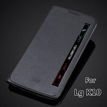 Ver Janela Inteligente caso capa para o LG K10 K410 K420N rápida Auto sono capa super fino flip caso de couro