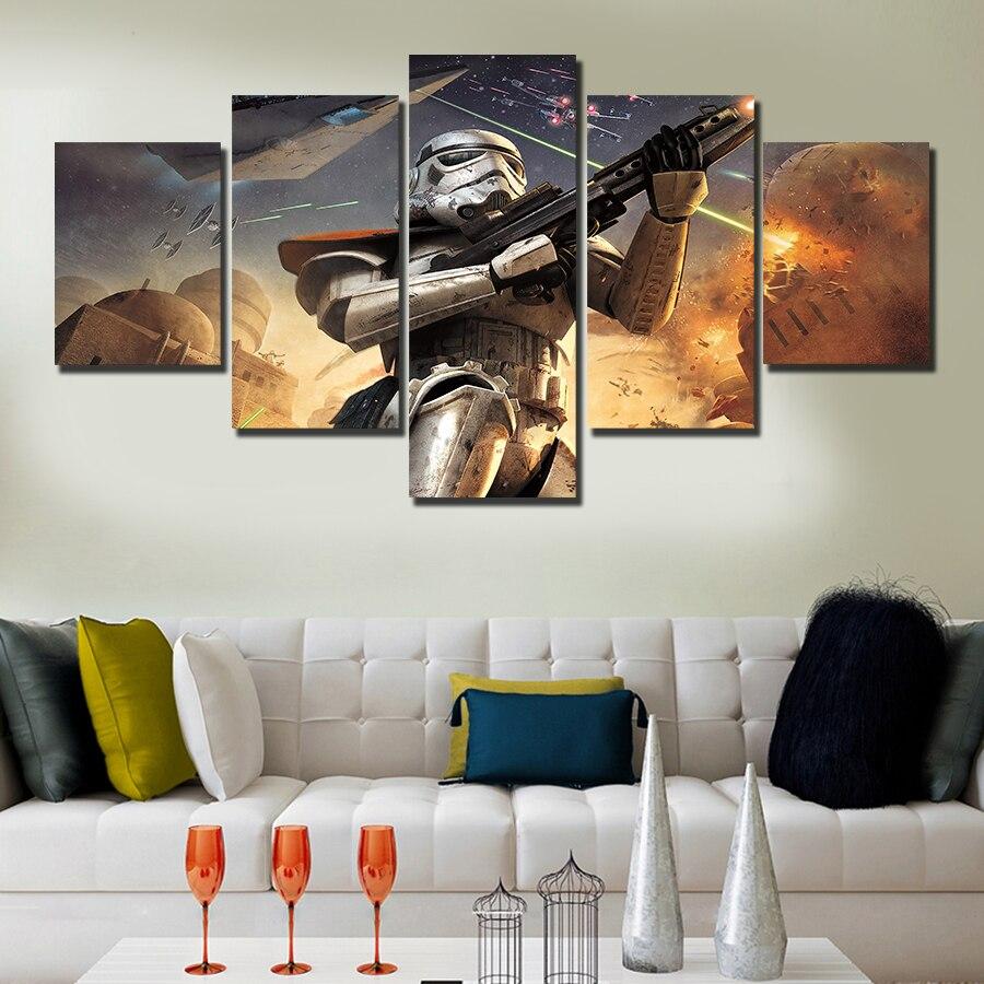 Unframed 5 Pcs Star Wars Hd Canvas Print Painting Modern