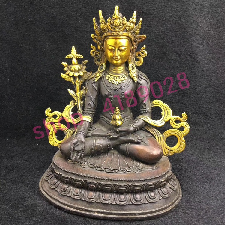 Pure bronze carved gold Buddha, household decoration, collectiblesPure bronze carved gold Buddha, household decoration, collectibles