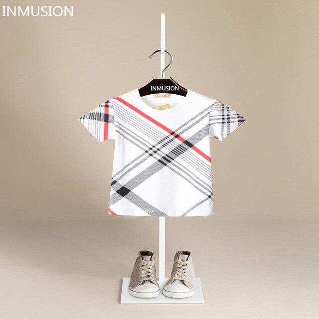 INMUSION лето Британский стиль известный дизайн детская одежда мальчиков с коротким рукавом футболки хлопок дышащий классический топы