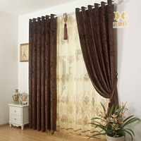 High Grade Four Colors Option Room Darkening Elegant Coffee Chenille Blackout Curtains For Living Room Beautiful