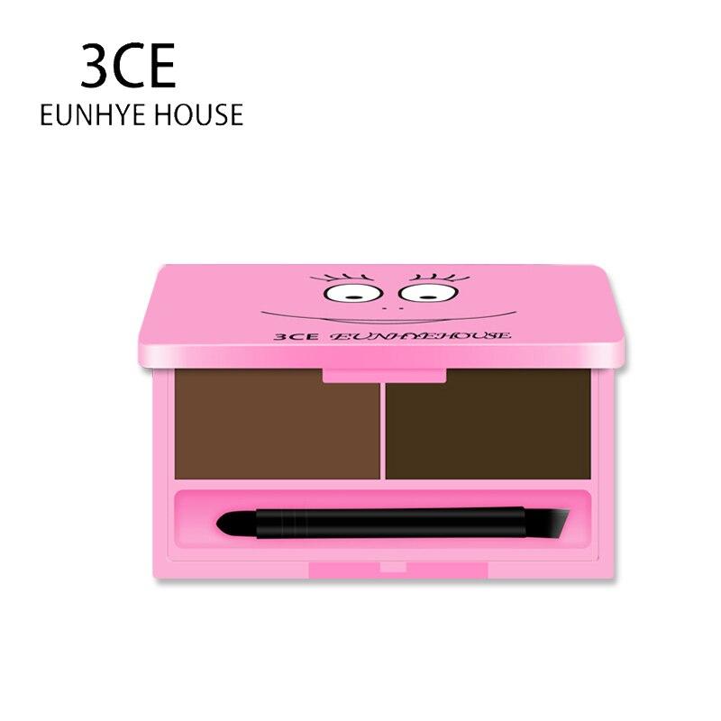 3CE EUNHYE HOUSE Brand 3 Color Make up Eyebrow Enhancer Powder Waterproof Long Lasting Eye Shadow Eye Brow Gel Set Kit Cosmetics