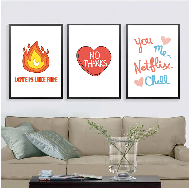 Nordic Modern Life motto Quote Love Is Like Fire No Thanks Canvas Poster Art Painting Wall pictures For Living Room Home Decor in Painting Calligraphy from Home Garden