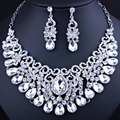 FARLENA Jewelry Clear Crystal Rhinestones Exquisite Water Drop Necklace Earring set Bridal Wedding Jewelry sets