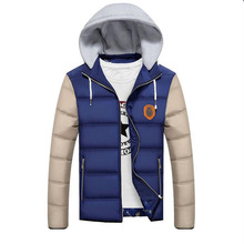 Men patchwork jacket Men Jacket Warm cotton coat mens casual hooded jackets Handsome Outwear Parka Plus