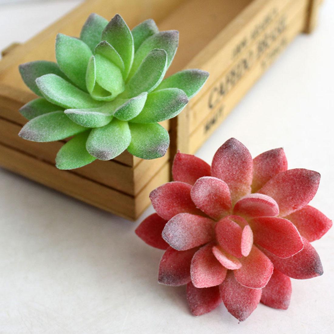 1PC Artificial Plants Succulent Frost Lotus Landscape Simulation Plant Home Office Flocking Fake Edelweiss Decoration