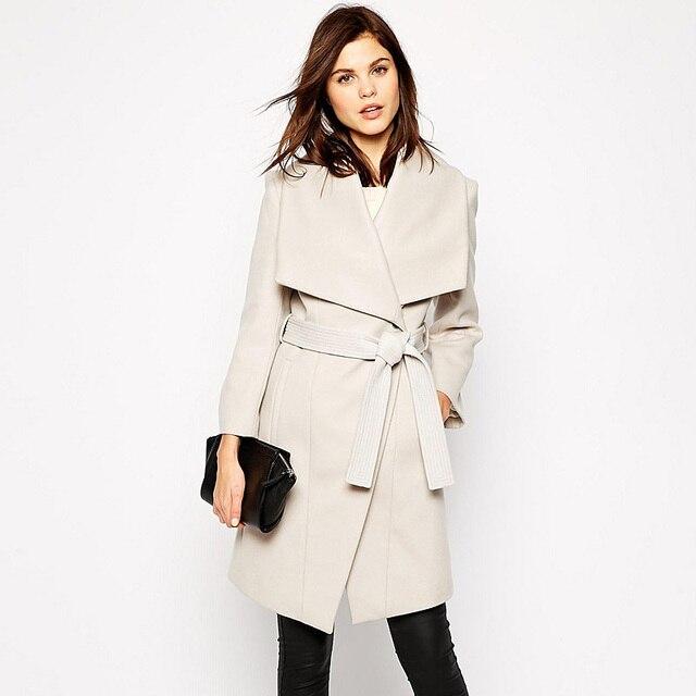 Hight calidad abrigo de invierno mujeres Warm Beige abrigo de lana prendas de vestir exteriores da vuelta abajo de la correa sólida gruesa chaqueta de invierno