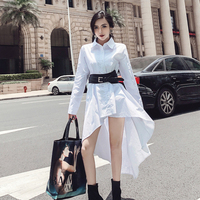 Sexy Fashion Long Shirts Asymmetrical Slim White Blouse Women Waist Band High Street High Waist OL Blouse Dresses vestidos mujer