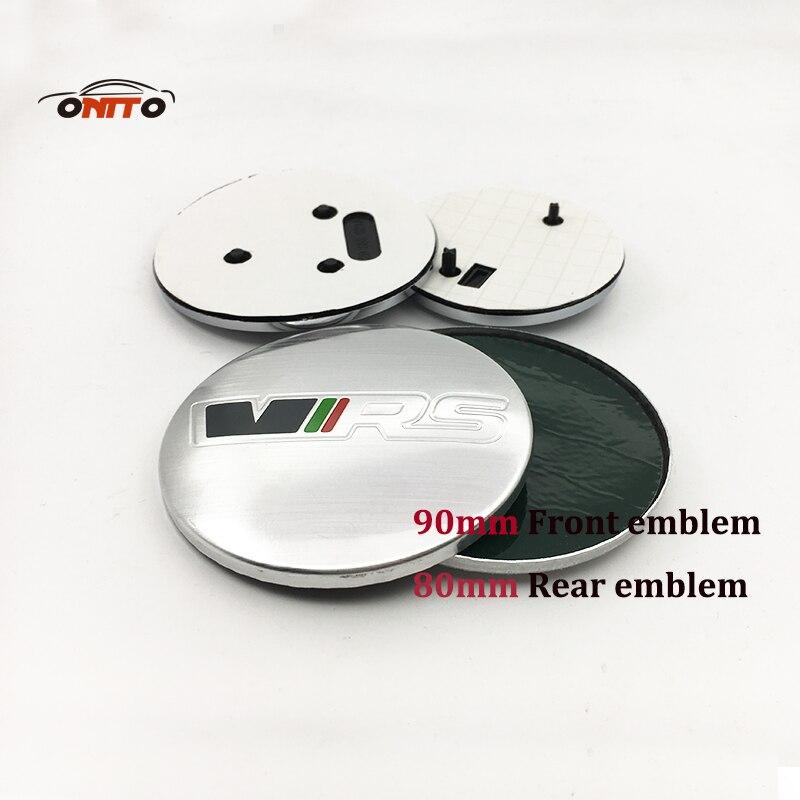 2 pcs Pour 90mm 80mm Emblème de voiture noir argent Badge Avant Bonnet capot Du Coffre VRS LOGO étiquette Pour FABIA OCTAVIA ROOMSTER RAPIDE YETI