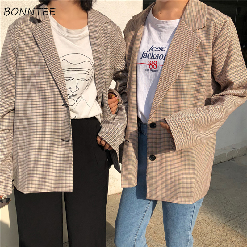 Blazers Women Retro Thin Single Breasted Harajuku Ulzzang All-match Simple Chic Womens Trendy Korean Style Ladies Elegant Daily