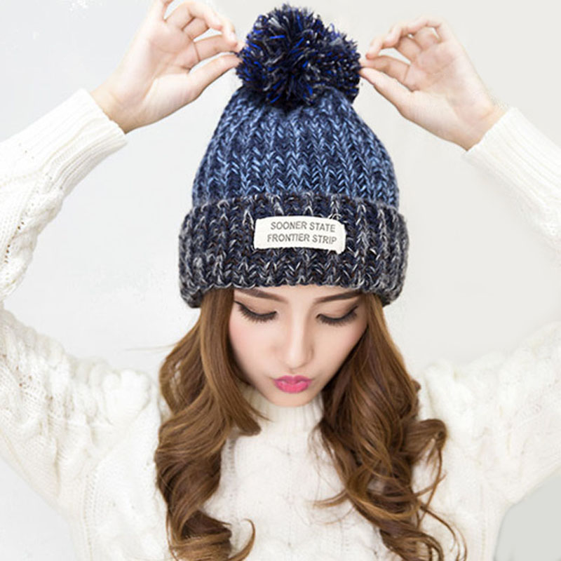 Adofeeno 2017 New Pom Poms Winter Hats For Women Thick Fur Keep Warm Girl 's knitted Hat Beanies Cap plus poms winter hats for women thick warm skullies