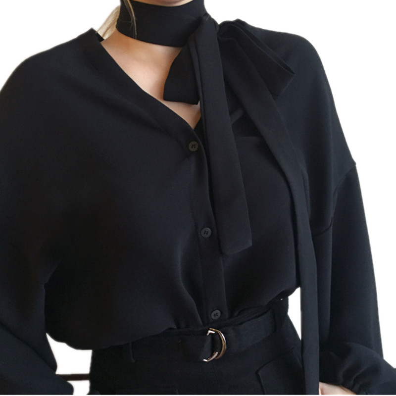 2019 Fashion New Korea Retro Women V-neck Black Show Thin Loose Single-breasted Bubble Long Puff Sleeve Chiffon Shirt Ljx08 Blouses & Shirts