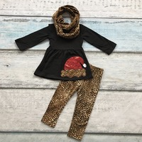 Baby Girls Outfits Fall Winter Pant Sets Outfits Cotton Milk Silk Black Leopard Christmas Hat 3