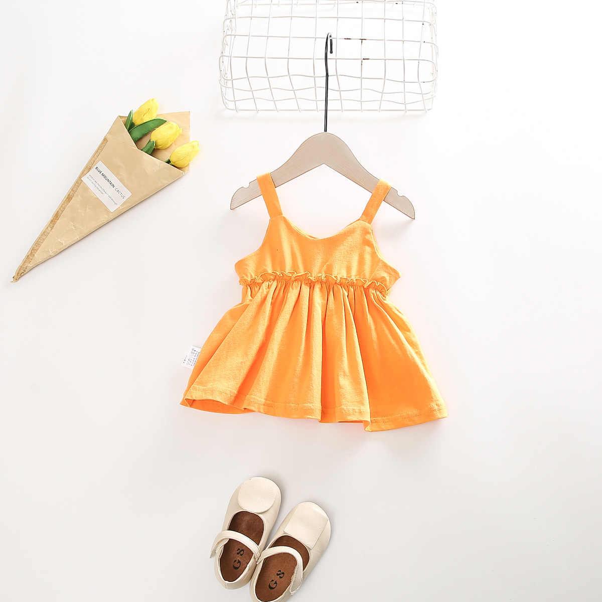 Parte Superior Do Tanque de verão Criança Meninas Do Bebê Colete Vestido de Camisa Crianças Doces Cor Da Moda Meninas Roupas